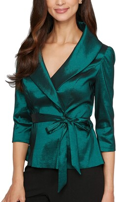 Alex Evenings Women's Petite Stretch Taffeta Blouse