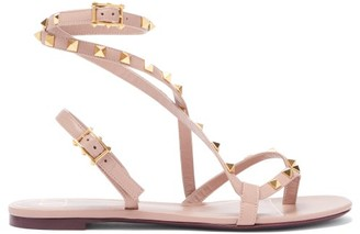 Valentino Rockstud Crossover-strap Leather Sandals - Womens - Nude