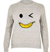 River Island Womens Plus Grey knit banana man jumper