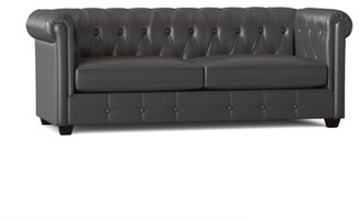 "Birch Lane Hawthorn Genuine Leather Chesterfield 88"" Rolled Arm Sofa Heritage Body Fabric: Steamboat Charcoal"