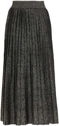 A.L.C. Pleated Metallic Knitted Midi Skirt