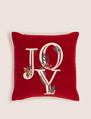 Marks and Spencer Joy Embroidered Christmas Cushion