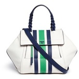 Tory Burch 'Half-Moon' small stripe print leather satchel