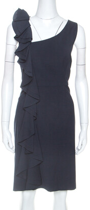 RED Valentino Navy Blue Stretch Wool Ruffle Detail Midi Dress L