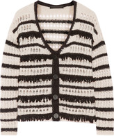 Karl Lagerfeld Dana striped open-knit cardigan