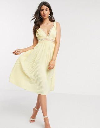 ASOS DESIGN Premium twist strap lace insert midi dress in lemon