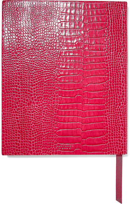 Smythson Mara Croc-effect Leather Notebook