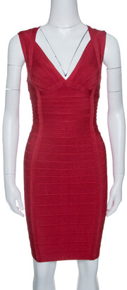 Herve Leger Lipstick Red Sleeveless Darby Bandage Dress S