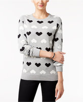 Charter Club Petite Heart-Print Sweater, Only at Macy's