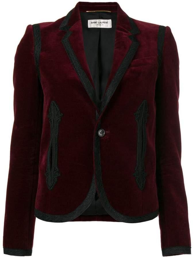 Saint Laurent boxy embroidered velvet blazer