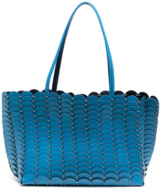 Paco Rabanne Scalloped Leather Tote