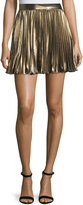 Haute Hippie Pleated Lamé; Mini Skirt, Gold