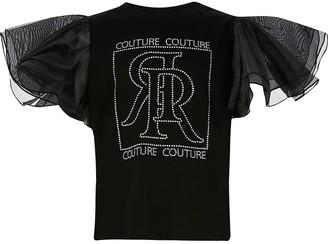 River Island Girls black diamante organza sleeve t-shirt