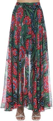 Mirae Gemma Printed Viscose Maxi Skirt