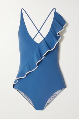 Marysia Swim Palisades Ruffled Stretch-crepe Swimsuit - Azure