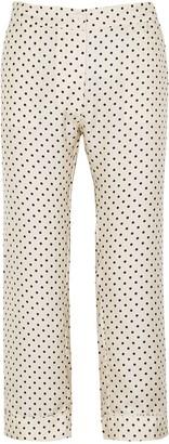 La Prestic Ouiston Miami Cropped Polka-dot Silk Trousers