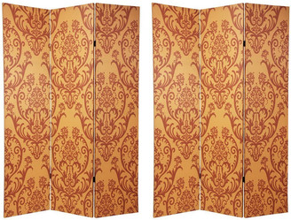 Oriental Furniture Handmade 6' Canvas Wood and Damask Room Divider