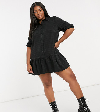 Only Curve mini shirt dress with pephem in black grid plaid