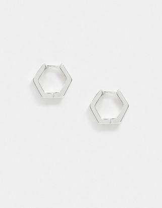 Orelia hexagon huggie hoop earrings in silver plate