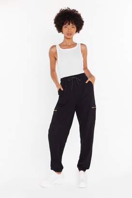 Nasty Gal Womens This is Zip High-Waisted Cargo Joggers - black - 6