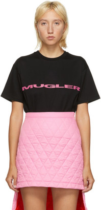 Thierry Mugler SSENSE Exclusive Black and Pink Logo Oversized T-Shirt