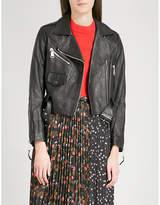 Mo&Co. Cropped leather biker jacket