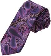 DAE7B03G Medium Purple Blue Paisley Microfiber Skinny Tie Creative Gentlemen Thin Tie By Dan Smith