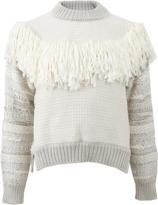 Lanvin Tweed Knit Fringe Sweater