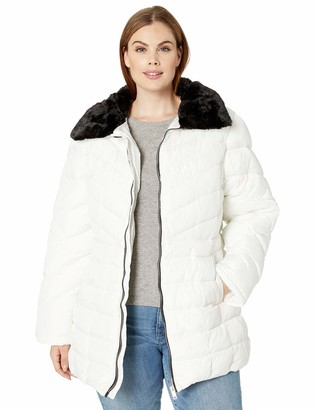 Big Chill Women's Puffer Coat with Detachable Faux Fur Collar