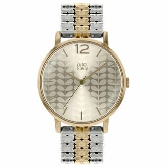 Orla Kiely Womens Analogue Classic Quartz Watch with Brass Strap OK4093
