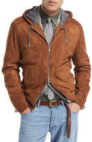 Brunello Cucinelli Two-Way Zip Suede Hoodie