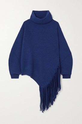 Stella McCartney Asymmetric Fringed Ribbed Cashmere And Wool-blend Sweater - Blue