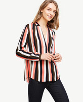 Ann Taylor Stripe Pleated Collar Blouse