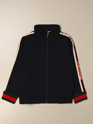 Gucci Sweatshirt With Zip And Web Sport Bands