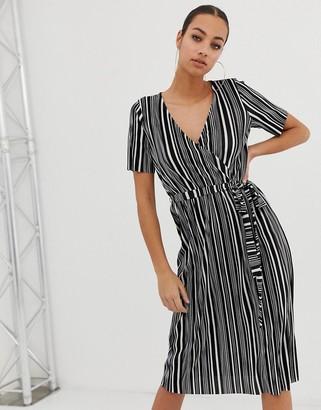 Asos Design DESIGN mono stripe belted plisse wrap dress-Multi