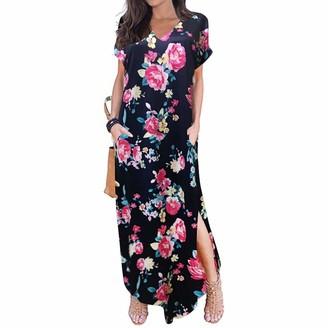 LOPILY 2019 Fashion Women Casual Dress Short Sleeve V-Neck Maxi Dress Print Tank Long Party Dress Swing Dress Hot Pink