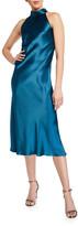 Galvan Sienna Sleeveless Satin Turtleneck Bow-Back Dress