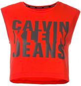 Calvin Klein Jeans logo print cropped top - women - Cotton/Spandex/Elastane - M