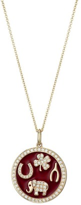 Sydney Evan 14K Yellow Gold, Diamond & Enamel Luck Tableau Pendant Necklace