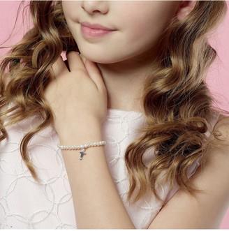 Beaverbrooks Mini B Childrens Silver Freshwater Cultured Pearl Cross Charm Bracelet
