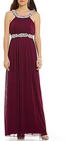 Jodi Kristopher Bead-Embellished High Neck Long Dress