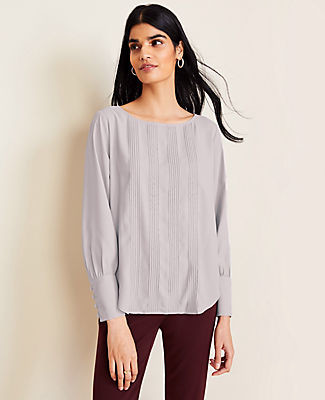 Ann Taylor Petite Pintucked Boatneck Blouse