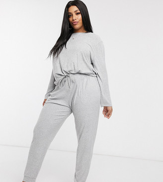 Asos DESIGN Curve mix & match lounge super soft jogger with channelling