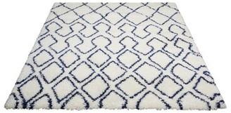 Calvin Klein Riad Geometric Ivory/Navy Blue Area Rug Rug Size: Rectangle 4' x 6'