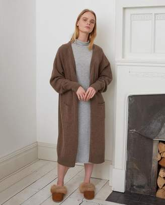 Beaumont Organic Winifred Merino Wool Cardigan In Taupe - Taupe / Small