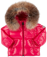 Moncler Fur-Trimmed Down-Quilted Coat-PINK