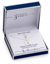 Unwritten Gratitude & Grace Fine Silver Plated Cubic Zirconia Cross and Angel Wings Layer Pendant Necklaces