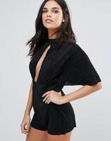 Love Pleated Kimono Sleeve Romper