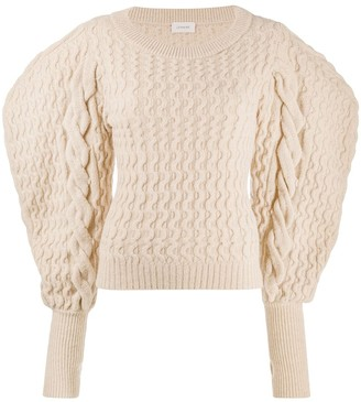 Lemaire Puff-Sleeve Cable Knit Jumper