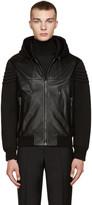 Versace Black Leather & Neoprene Jacket